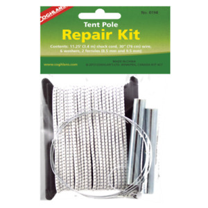 Coghlan's Tent / Awning Pole Repair Kit, Inc Shock Cord,Wire,Ferrules Washers,