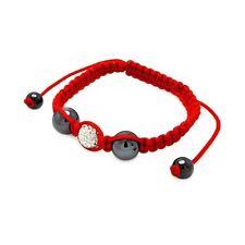 Black Steel Beads Clear CZ Center Red Cord Shambhala Bracelet SBB00045