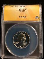 1963 Proof 68 Washington Quarter Silver ANACS PF 68