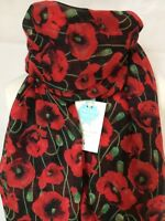 POPPY FIELD BLOOM RED & BLACK SOFT QUIRKY FLOWER SCARF SHAWL WRAP GIFT POPPIES