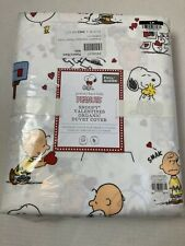 Pottery Barn Kids Peanuts Snoopy Valentines Organic Duvet Cover, Full/Queen, NWT