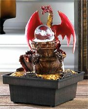 MEDIEVAL RED DRAGON LED LIGHTED W/ ORB TABLETOP WATER FOUNTAIN ** NIB