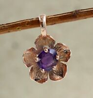 Solid 925 Sterling Silver Jewelry Amethyst Gemstone Rose Gold Plated Pendant