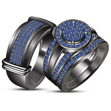 14k Black Gold Finish Blue Sapphire Engagement Unisex Wedding Band Trio Ring Set