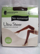 New No nonsense Ultra Sheer Reinforced Panty & Toe Jet Brown Size C Pantyhose