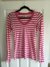 HOLLISTER WOMENS PINK STRIPED LONG SLEEVE TOP SIZE XS