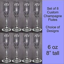 Personalized Custom Wedding Champagne Flute Glasses  SET OF 8, CHOICE OF DESIGNS