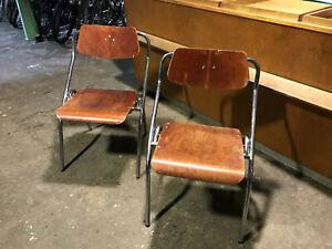 2x Mauser Stuhl Klappstuhl stapelbar verm.50er 60er Jahre Loft Industrie Vintage