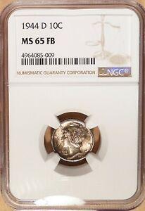 1944-D Mercury Dime, NGC graded MS 65 FB, Lustrous w/ Light to Medium Toning.
