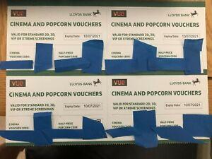 4 x VUE CINEMA TICKETS PLUS HALF PRICE POPCORN. VALID UNTIL 10th July 2021 (2/3)