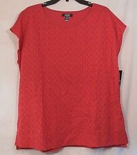 "CHAPS DENIM womens ""Anchor Red"" cap sleeve open work top size M NWT"