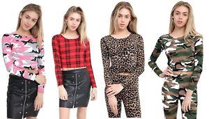 Womens Ladies  Tartan Camouflage Animal Print Long Sleeve Crop Top Vest 8-14