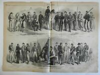 Military uniforms volunteer soldiers militia camp Zouaves 1861 Harper's print