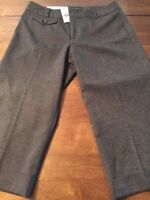 Banana Republic Women's Gray Pants Pinstripe Crop Pants Fully Lined Size 8 NWT