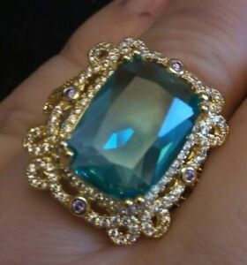 Emerald Cut blue topaz with regal ornate setting Ring 18K Yellow Gold Filled
