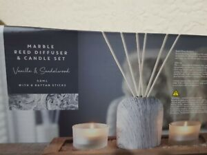NEW MARBLE REED DIFFUSER TEALIGHT VASE WOODEN TRAY 6 RATTAN STICKS CANDLE SET