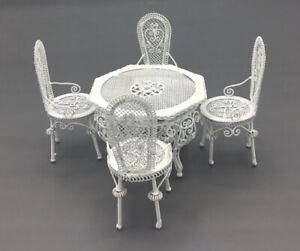 Dolls House White Metal Garden/Conservatory Furniture