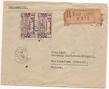 French Middle Congo 1936 Chad Registered from Fort Lamy (bac)