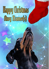 CUTE DACHSHUND CHRISTMAS CARD Personalised & illustrated inside & out  Glossy A5
