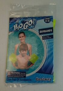 "H2O GO Yellow Armbands Floats Rings 10"" in X 6"" in Ages 3-6 Indoor Outdoor Pool"
