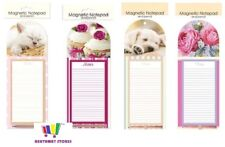 MAGNETIC NOTEPAD AND PENCIL SHOPPING LIST FRIDGE KITTEN PUPPY FLOWER CUPCAKE NEW