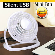 USB Small Fan Desk Personal Table Cooling Electric Adjustable Tilt Stand White