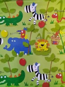 2 Sheets Jungle Animals Gift Wrapping Paper Birthday Party Zebra Crocodile Snake