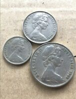 ⚡1968 Australian 20 Cent, 10 Cent, 5 Cent Coin Set Of 3, RARE 🇦🇺 FREE Post💰