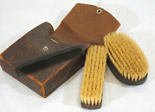 Old Grooming Kit Leather Travel Kit 2 Ebony Pure Bristle Brushes and A Comb