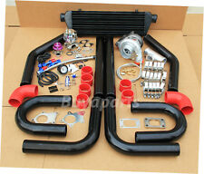 DIY Turbo Kit,8x Black pipe+ Red coupler+ Wastegate+ Manifold,Downpipe Flange