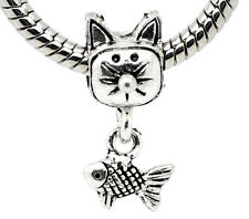 Charm Pendant Bead CAT with FISH. Fits European Charm Bracelet or Necklace C157