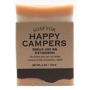 Scented 6oz Handmade Novelty Soap For Happy Campers Smells Like Nuked Smores