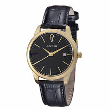 Azzaro Men's Legend Black Dial Leather Strap Swiss Quartz Watch AZ2040.62BB.000