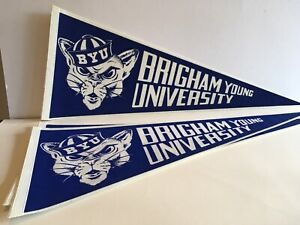 Vintage 1990s Brigham Young University Cougars Football Pennant BYU Sports