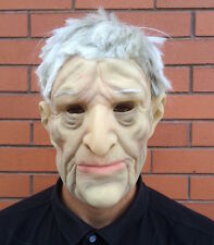 Realistic Old Man Mask White Hair Latex Disguise Halloween Fancy Dress Grandad