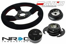 NRG 320mm Race BK Suede Steering Wheel Red St 100H Hub Gen3 BK Release Lock LB