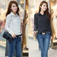 Women Chiffon Long Sleeve Button Loose Tops Blouse Casual Polka Dot T-shirts