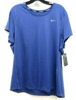 New Nike Womens Dri-Fit Polyester Indigo Running Top T-Shirt Tee Size Plus 1X