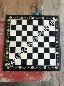 """15"""" Black Marble Chess Board Table Top Inlay Marquetry Outdoor Home Decor E1203"""