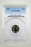 PR66 1962 90% SILVER ROOSEVELT DIME PCGS GRADED 10C PROOF COIN LIBERTY US PR 66