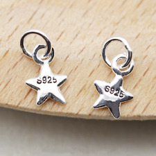Tiny Solid 925 Sterling Silver 3D Puffy Plain Lucky Star Girls Pendant Charm