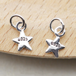 2 Tiny Sterling Silver 3D Puffy Plain Lucky Star Pendant Charm