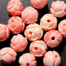 5Pcs 10mm Pink Shell Carved Round Lotus Flower Loose Beads Gemstone DIY Jewelry