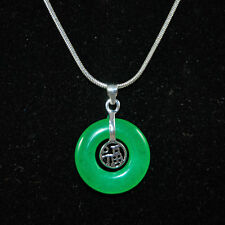 Malaiische Jade Anhänger Silber Grün Halskette Scheibe Donut