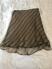 Allison Taylor Vintage 100% Silk Straight Skirt Ruffle Hem