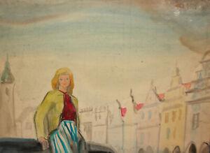 Antique impressionist watercolor painting cityscape girl portrait