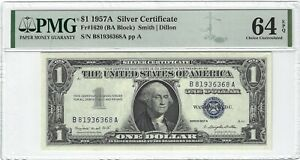 Fr.1620 1957A $1 Silver Certificate, Smith / Dillon, BA Block, PMG 64EPQ