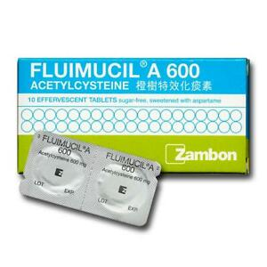 Fluimucil A 600mg For Adults Easing Congestion In Throat & Lungs / 10 Tablets