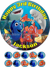 Personalised 19cm Round 10x3.5cm Finding Nemo / Dory Edible Cake Toppers
