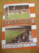 17/11/1990 Brentford v Yeovil Town [FA Cup] . Unless previously listed in bracke